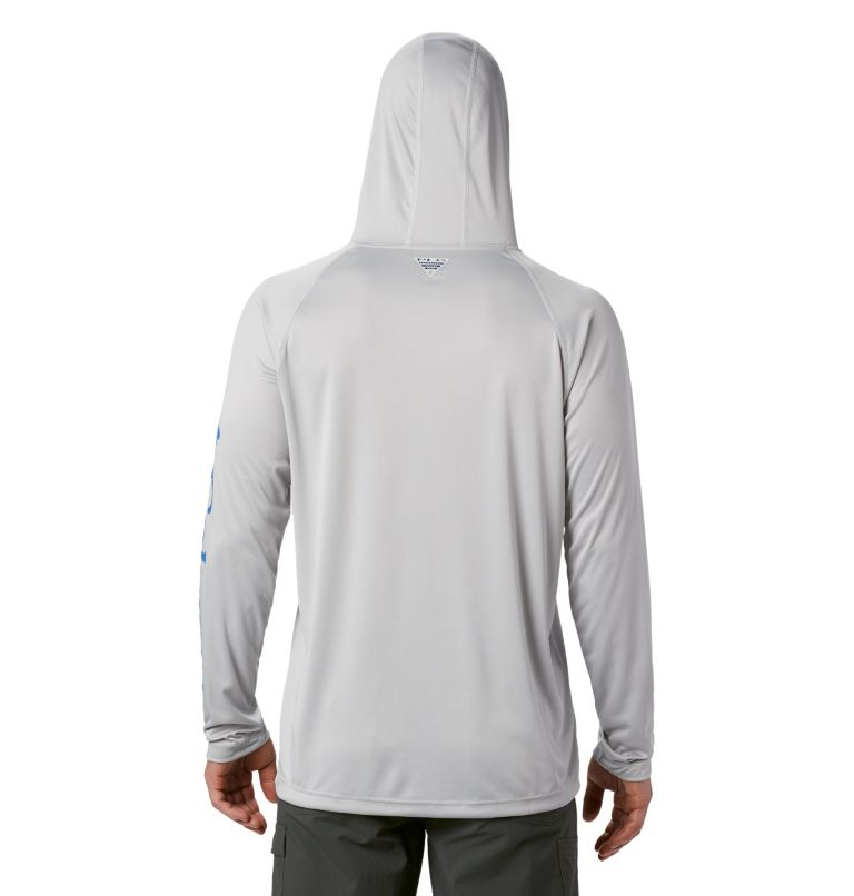 Terminal Tackle™ Hoodie | 020 | S Men's PFG Terminal Tackle™ Hoodie, Cool Grey, Vivid Blue Logo, back