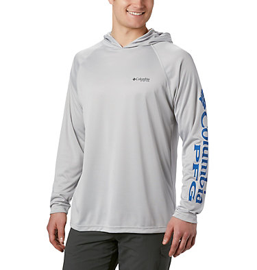 Men's PFG Terminal Tackle™ Hoodie Terminal Tackle™ Hoodie | 455 | XXL, Cool Grey, Vivid Blue Logo, front