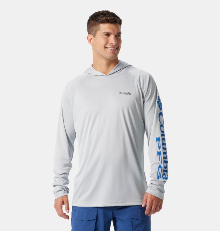 Terminal Tackle™ Hoodie   020   XXL Men's PFG Terminal Tackle™ Hoodie, Cool Grey, Vivid Blue Logo, front