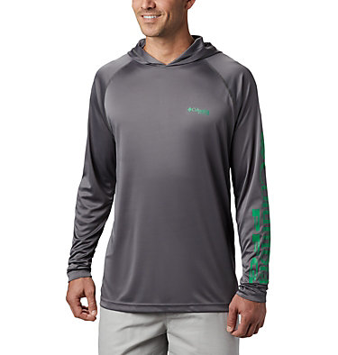 Men's PFG Terminal Tackle™ Hoodie Terminal Tackle™ Hoodie | 455 | XXL, City Grey, Dark Lime Logo, front