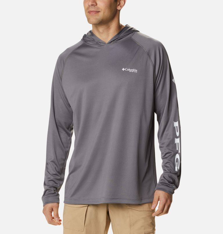 Terminal Tackle™ Hoodie | 024 | S Men's PFG Terminal Tackle™ Hoodie, City Grey, White Logo, front