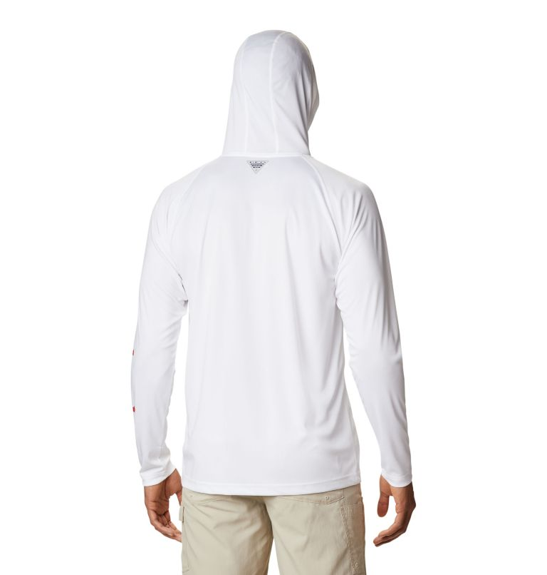 Terminal Tackle™ Hoodie | 101 | S Men's PFG Terminal Tackle™ Hoodie, White, Red Spark Logo, back