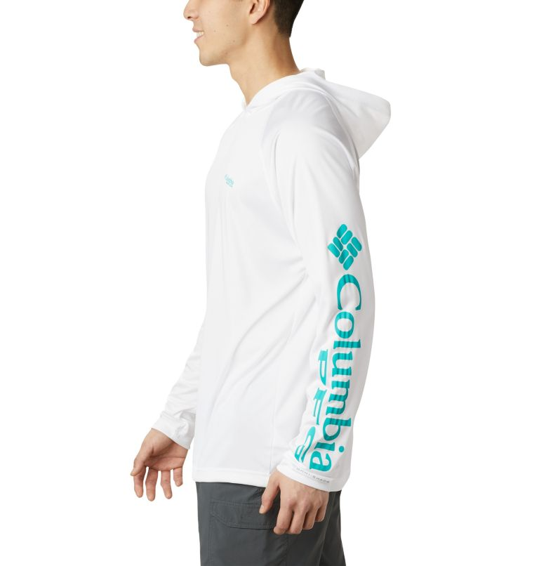 Terminal Tackle™ Hoodie | 102 | XS Men's PFG Terminal Tackle™ Hoodie, White, Bright Aqua Logo, a1