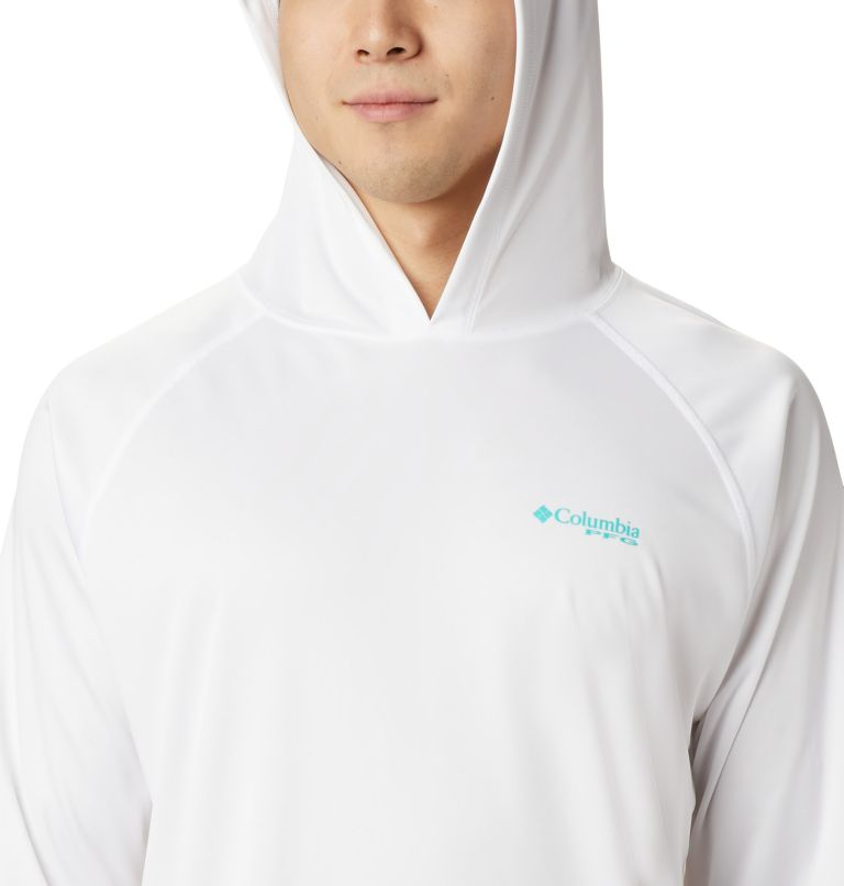 Terminal Tackle™ Hoodie | 102 | XXL Men's PFG Terminal Tackle™ Hoodie, White, Bright Aqua Logo, a2