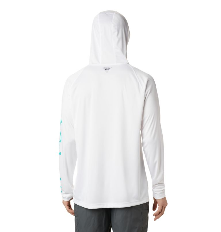Terminal Tackle™ Hoodie | 102 | S Men's PFG Terminal Tackle™ Hoodie, White, Bright Aqua Logo, back