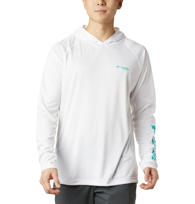 Terminal Tackle™ Hoodie | 102 | XS Men's PFG Terminal Tackle™ Hoodie, White, Bright Aqua Logo, front
