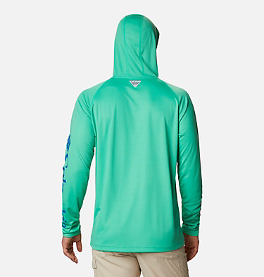 Men's PFG Terminal Tackle™ Hoodie Terminal Tackle™ Hoodie | 455 | XXL, Winter Green, Vivid Blue Logo, back
