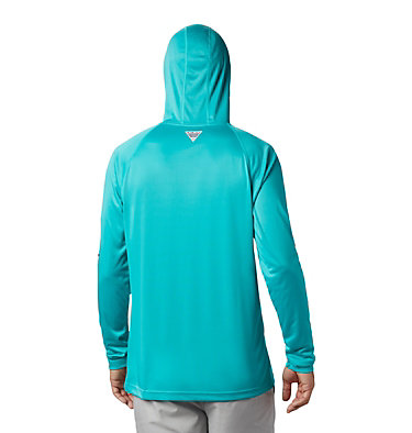 Men's PFG Terminal Tackle™ Hoodie Terminal Tackle™ Hoodie | 454 | L, Bright Aqua, Collegiate Navy Logo, back
