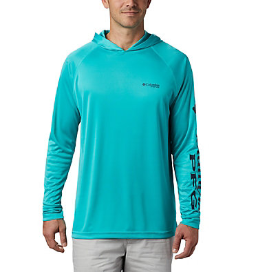 Men's PFG Terminal Tackle™ Hoodie Terminal Tackle™ Hoodie | 455 | XXL, Bright Aqua, Collegiate Navy Logo, front
