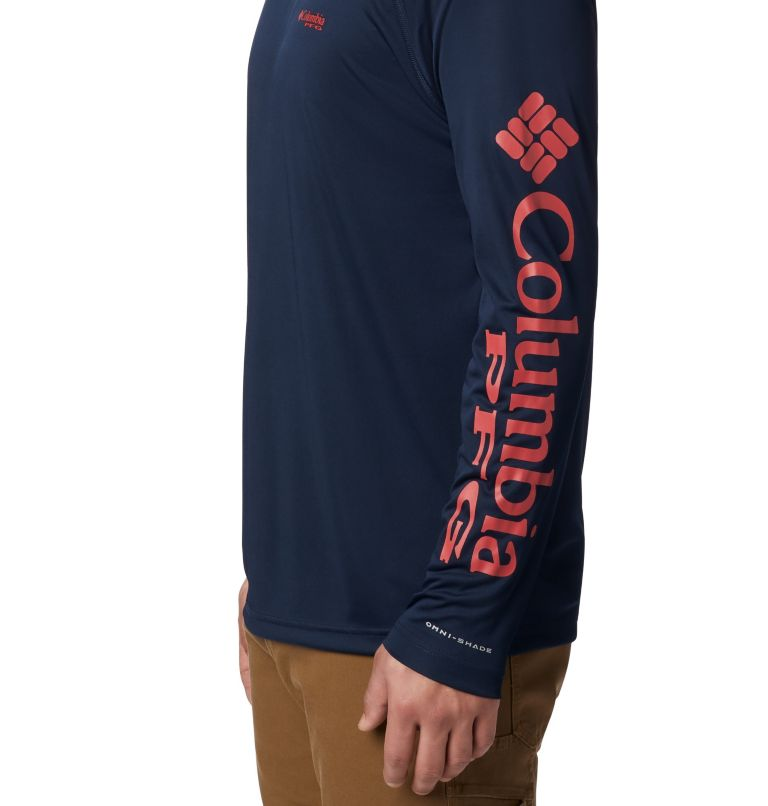 Terminal Tackle™ Hoodie | 465 | XS Men's PFG Terminal Tackle™ Hoodie, Coll Navy, Sunset Red Logo, a1