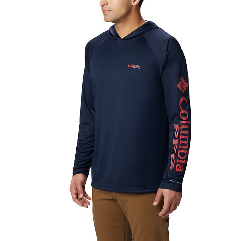 Coll Navy, Sunset Red Logo Men's PFG Terminal Tackle™ Hoodie, View 0