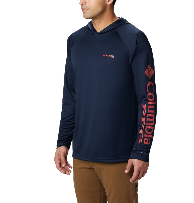 Terminal Tackle™ Hoodie | 465 | XS Men's PFG Terminal Tackle™ Hoodie, Coll Navy, Sunset Red Logo, front