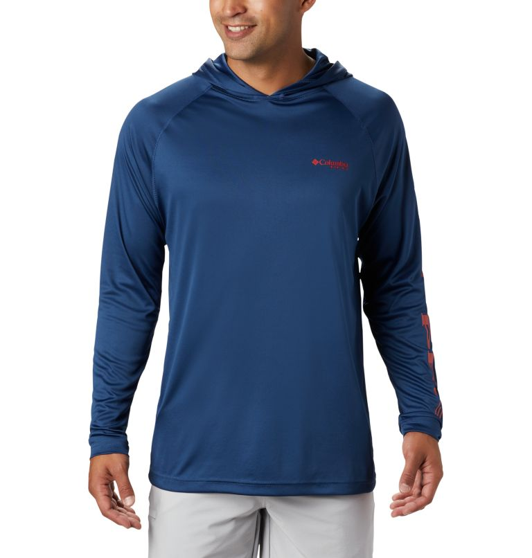 Terminal Tackle™ Hoodie | 470 | S Men's PFG Terminal Tackle™ Hoodie, Carbon, Red Spark Logo, front