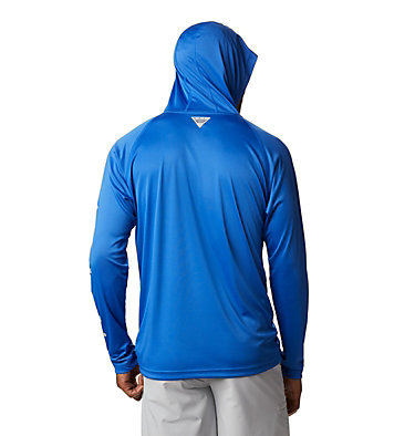Men's PFG Terminal Tackle™ Hoodie Terminal Tackle™ Hoodie | 455 | XXL, Vivid Blue, Cool Grey Logo, back