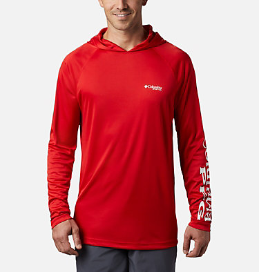 Men's PFG Terminal Tackle™ Hoodie Terminal Tackle™ Hoodie | 455 | XXL, Red Spark, White Logo, front