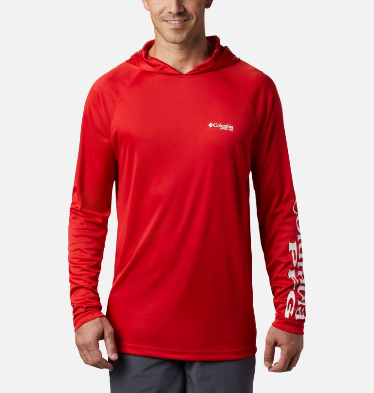 Terminal Tackle™ Hoodie | 696 | S Men's PFG Terminal Tackle™ Hoodie, Red Spark, White Logo, front