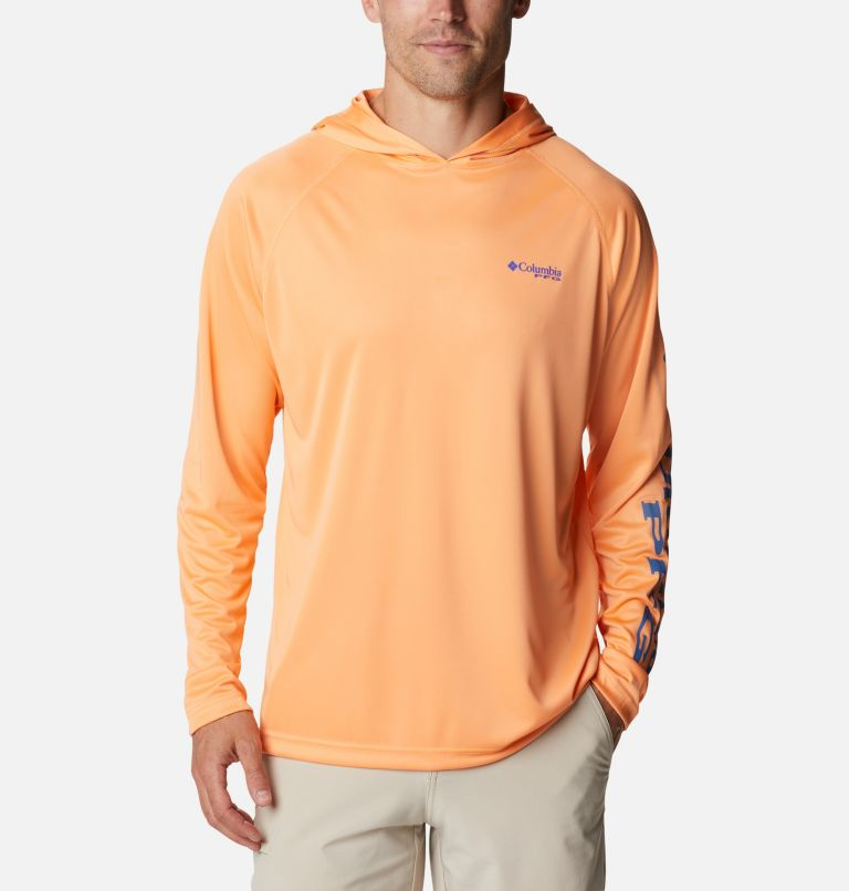 Terminal Tackle™ Hoodie | 873 | S Men's PFG Terminal Tackle™ Hoodie, Bright Nectar, Vivid Blue Logo, front