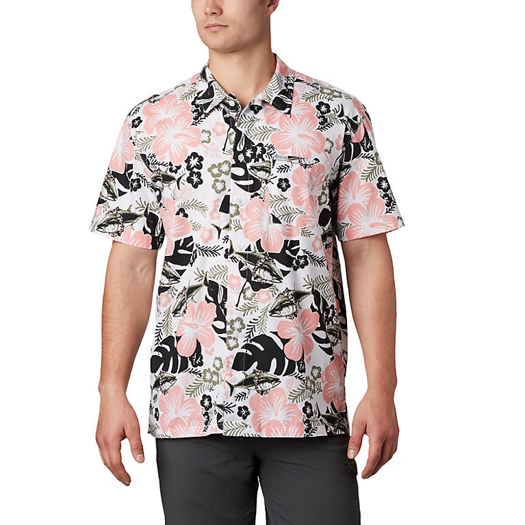 Bright Colour Floral Elephant Mens Short-Sleeve Polo Sport Shirt