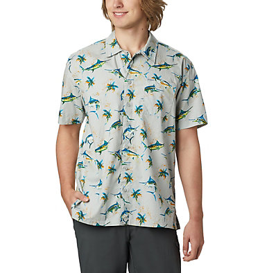 Men's PFG Trollers Best™ Short Sleeve Shirt Trollers Best™ SS Shirt | 342 | L, Cool Grey Watery Fish Print, front