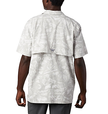 Men's PFG Trollers Best™ Short Sleeve Shirt Trollers Best™ SS Shirt | 704 | XL, Cool Grey Freshwater Roots Print, back