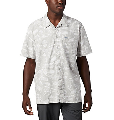 Men's PFG Trollers Best™ Short Sleeve Shirt Trollers Best™ SS Shirt | 342 | L, Cool Grey Freshwater Roots Print, front