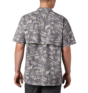 Men's PFG Trollers Best™ Short Sleeve Shirt Trollers Best™ SS Shirt | 704 | XL, City Grey Freshwater Roots Print, back
