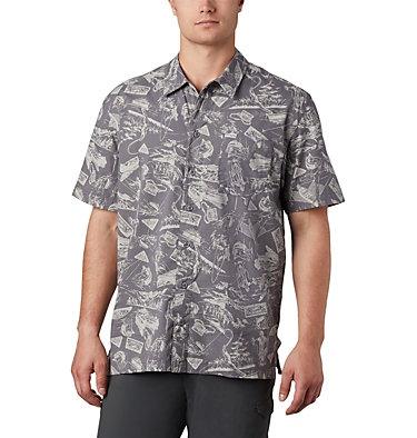 Men's PFG Trollers Best™ Short Sleeve Shirt Trollers Best™ SS Shirt | 704 | XL, City Grey Freshwater Roots Print, front