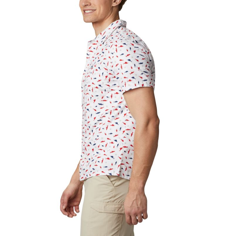Trollers Best™ SS Shirt   116   M Men's PFG Trollers Best™ Short Sleeve Shirt, White Americana Print, a1