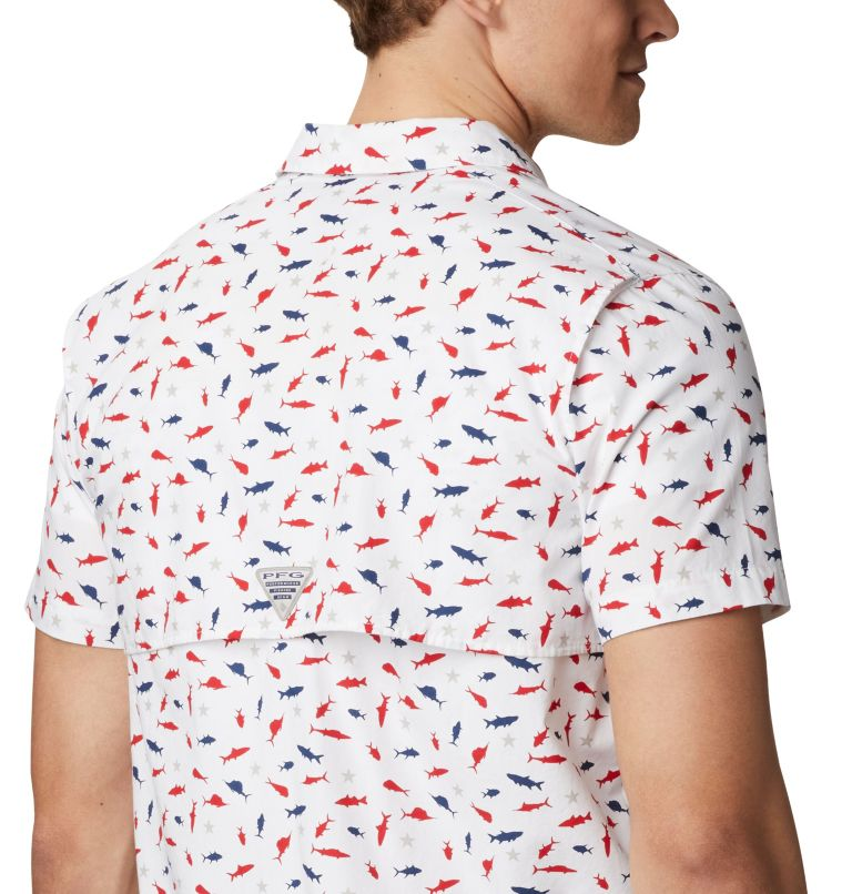 Trollers Best™ SS Shirt   116   M Men's PFG Trollers Best™ Short Sleeve Shirt, White Americana Print, a2