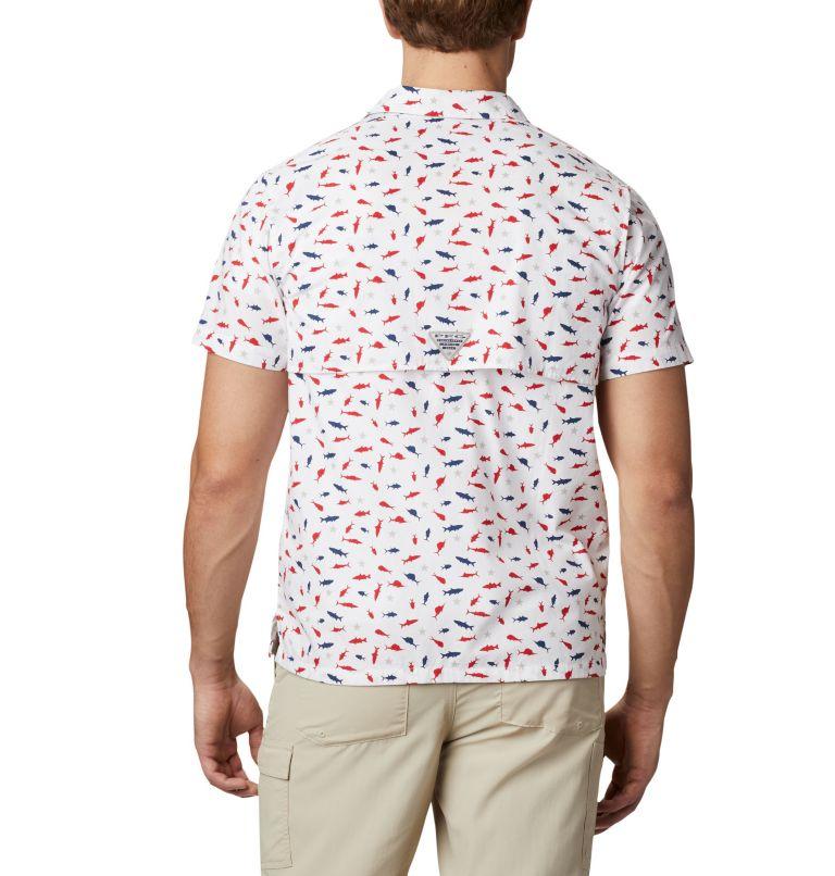 Trollers Best™ SS Shirt   116   M Men's PFG Trollers Best™ Short Sleeve Shirt, White Americana Print, back