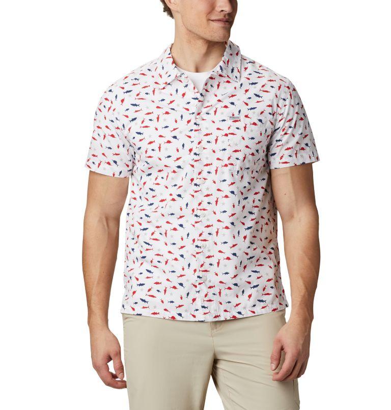 Trollers Best™ SS Shirt   116   M Men's PFG Trollers Best™ Short Sleeve Shirt, White Americana Print, front