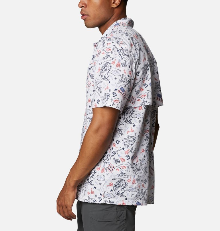 Trollers Best™ SS Shirt | 119 | XL Men's PFG Trollers Best™ Short Sleeve Shirt, White Americana Fishing Print, a1