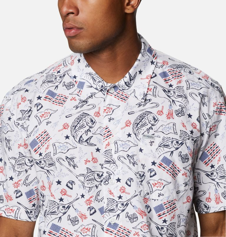 Trollers Best™ SS Shirt | 119 | XL Men's PFG Trollers Best™ Short Sleeve Shirt, White Americana Fishing Print, a2