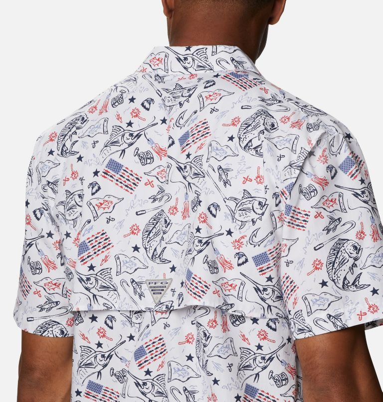 Trollers Best™ SS Shirt | 119 | XL Men's PFG Trollers Best™ Short Sleeve Shirt, White Americana Fishing Print, a3