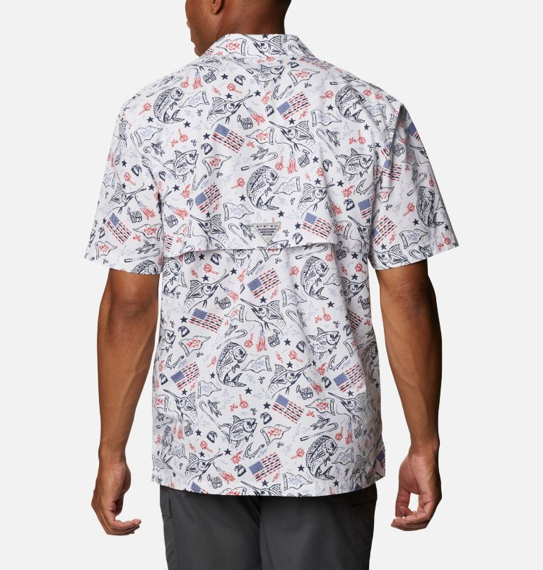 Trollers Best™ SS Shirt | 119 | XL Men's PFG Trollers Best™ Short Sleeve Shirt, White Americana Fishing Print, back
