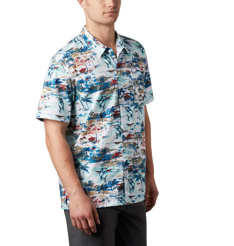 Trollers Best™ SS Shirt | 214 | L Men's PFG Trollers Best™ Short Sleeve Shirt, Beach Billfish BBQ Print, a3