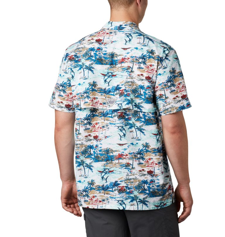 Trollers Best™ SS Shirt | 214 | L Men's PFG Trollers Best™ Short Sleeve Shirt, Beach Billfish BBQ Print, back