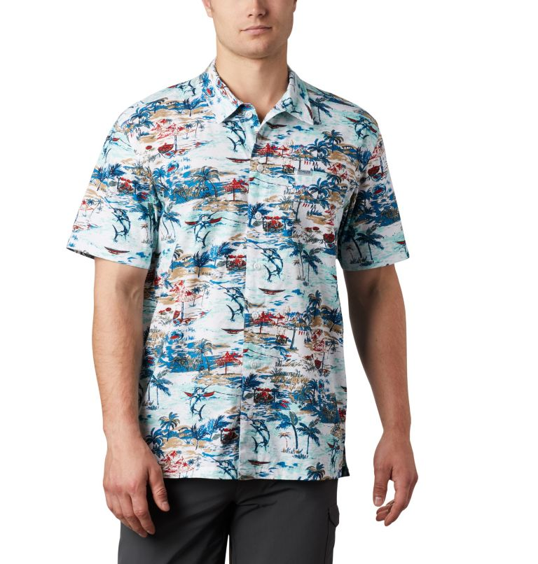 Trollers Best™ SS Shirt | 214 | XS Men's PFG Trollers Best™ Short Sleeve Shirt, Beach Billfish BBQ Print, front