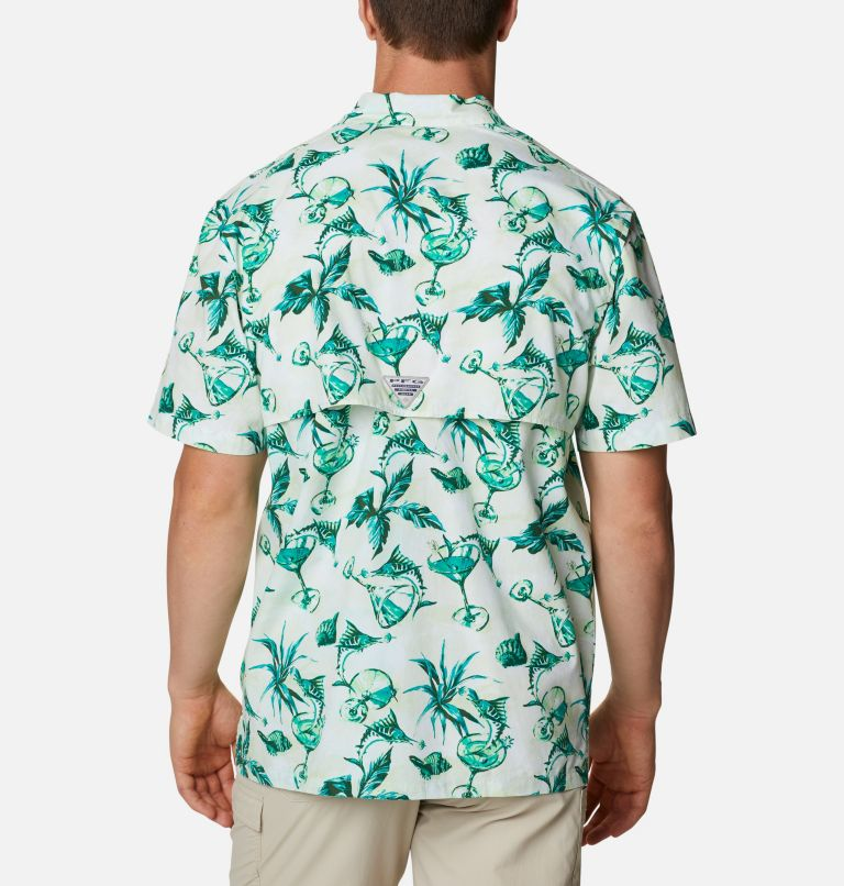 Trollers Best™ SS Shirt | 313 | L Men's PFG Trollers Best™ Short Sleeve Shirt, Light Lime Martini Marlin Print, back