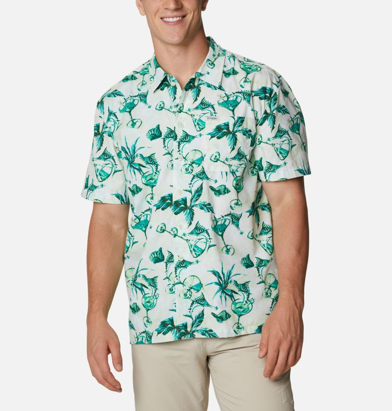 Trollers Best™ SS Shirt | 313 | L Men's PFG Trollers Best™ Short Sleeve Shirt, Light Lime Martini Marlin Print, front