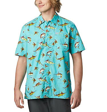 Men's PFG Trollers Best™ Short Sleeve Shirt Trollers Best™ SS Shirt | 342 | L, Geyser Watery Fish Print, front