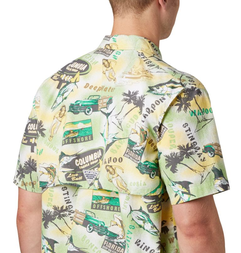 Trollers Best™ SS Shirt | 342 | XS Men's PFG Trollers Best™ Short Sleeve Shirt, Dark Lime Archive Print, a2