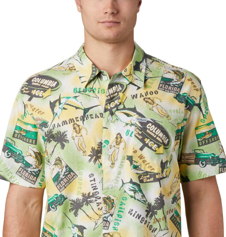 Trollers Best™ SS Shirt | 342 | M Men's PFG Trollers Best™ Short Sleeve Shirt, Dark Lime Archive Print, a3