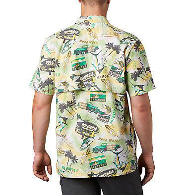 Men's PFG Trollers Best™ Short Sleeve Shirt Trollers Best™ SS Shirt | 704 | XL, Dark Lime Archive Print, back