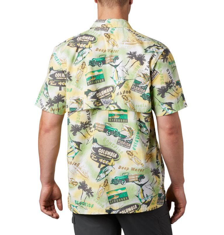 Trollers Best™ SS Shirt | 342 | XS Men's PFG Trollers Best™ Short Sleeve Shirt, Dark Lime Archive Print, back