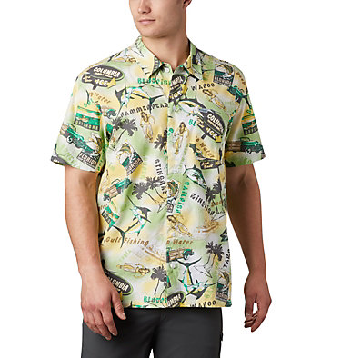 Men's PFG Trollers Best™ Short Sleeve Shirt Trollers Best™ SS Shirt | 704 | XL, Dark Lime Archive Print, front