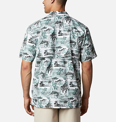 Men's PFG Trollers Best™ Short Sleeve Shirt Trollers Best™ SS Shirt | 704 | XL, Pond Polynesian Print, back