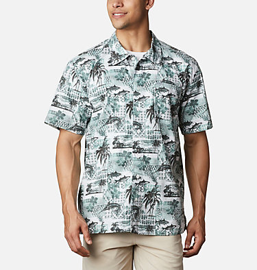 Men's PFG Trollers Best™ Short Sleeve Shirt Trollers Best™ SS Shirt | 704 | XL, Pond Polynesian Print, front