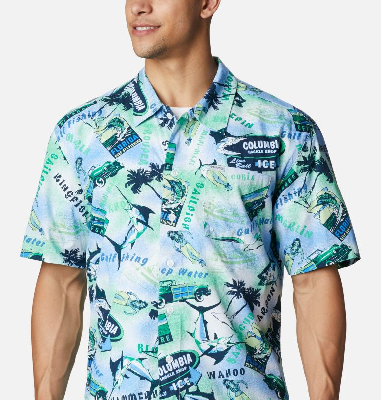Trollers Best™ SS Shirt | 379 | XL Men's PFG Trollers Best™ Short Sleeve Shirt, Emerald Green Offshore Archive Print, a2