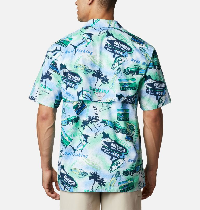 Trollers Best™ SS Shirt | 379 | S Men's PFG Trollers Best™ Short Sleeve Shirt, Emerald Green Offshore Archive Print, back